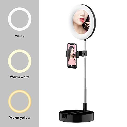 Anel portátil com suporte e suporte para telefone 11 polegadas Regulável Live Light 3 modos de cor e 10 brilho USB Powered for Makeup Selfie