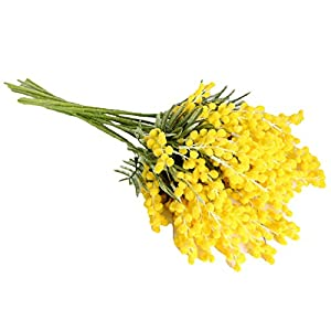 SNOWINSPRING Fake Yellow Flower Branch Artificial Plant Mimosa Plastic Leaves Small Pompon Stamen for Dining Table Bedroom Decor