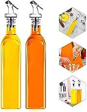Botella de Aceite, Dispensador de Aceite Cocina, Botella de Aceite de Vidrio, Dispensadores de Vinagre y Aceite, con Cierre Antisuciedad, 500 ml, Antigoteo