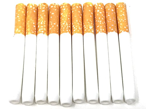 S and L Fake Cigarette Holder 10 Packs Accessory Dummy Quit Stop Smoking Aid Novelties Puff Realistic Prank Funny Gag Stage Propes Metal Not Plastic Sold Only