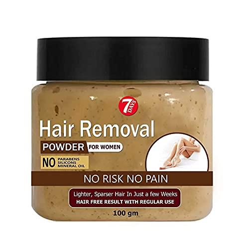 7 DAYS Hair Remover Powder | Waxing Powder Instant Hair Remover | All Hair & Skin Types Hands, Legs, Underarms, Bikini Area | 100 GM | Natural & Organic Hair Removal Powder (INSTANT HAIR REMOVER)