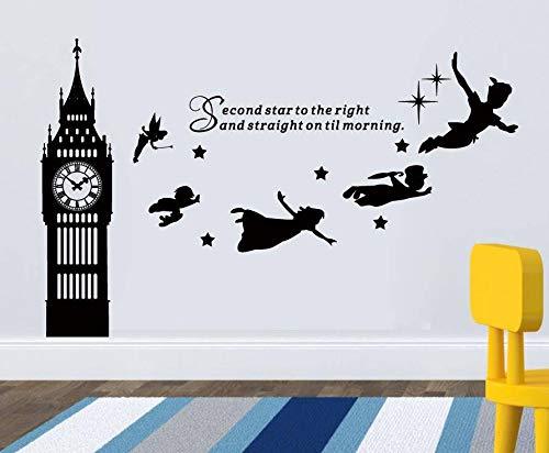 Cartoon Anime Big Ben Wandtattoo zweiter Stern auf der rechten Vinyl Wandtattoo für Kinderzimmer Kinderzimmer Dekoration Poster Film 67X42cm