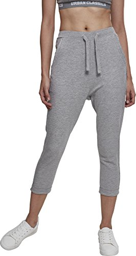 Urban Classics Damen Ladies Open Edge Terry Turn Up Pants Sporthose, Grau, 42 (Herstellergröße: XL)