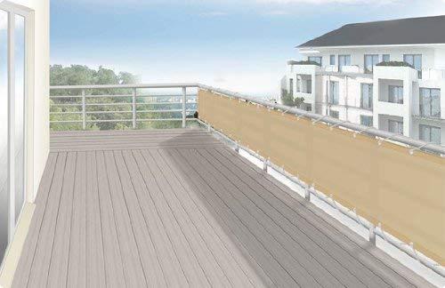 Floracord 12-75-50-01 Hochwertige Balkonumrandung aus Polyesterstoff 75 x 500 cm mit Zubehör montagefertig, sisal