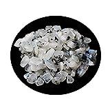 JUNJUN Cristal Natural Grava Piedra de Luna Cristal de Cuarzo Decoración del hogar Acuario para Curar Reiki Energía Meditación Piedra-100G