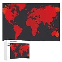 INOV 黒くおよび赤い世界地図 ジグソーパズル 木製パズル 1000ピース インテリア 集中力 75cm*50cm 楽しい ギフト プレゼント