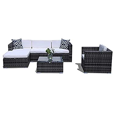 PATIOROMA Outdoor Sectional Furniture,6 Piece Patio Sectional Sofa Set with Grey Wicker White Cushions,Two Blue Throw Pillows