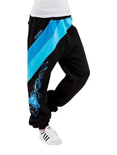 Dangerous DNGRS Damen Jogging Hose Baggy Sporthose Skull Totenkopf Schädel Skull, Farben:Blau, Größe:40