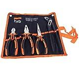HRB 5 tlg. Zangenset bestehend aus Wasserpumpenzange, Seitenschneider, Spitzzange, Kombizange in praktischer Tetron Rolltasche, qualitativ hochwertiges Werkzeug Set Zange