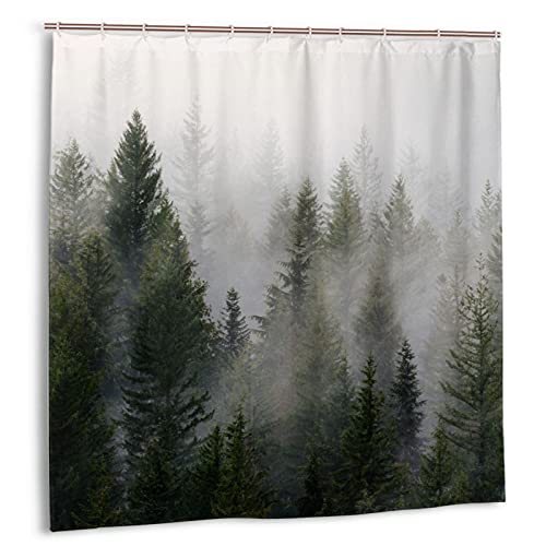 Shower Curtain for Bathroom Polyester Fabric Machine Washable Bathroom Curtain Misty Forest Bath Curtains with 12 Hooks 72×72 Inches