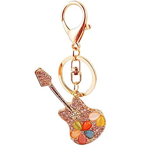 XinLuMing Creative Opal Guitarra Instrumento Llavero Llavero Bolsa Accesorios Accesorios Metal Colgante Llavero Regalo (Color : Gold)