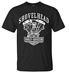 Harley-Davidson Men's Shovelhead Short Sleeve T-shirt Soft shirt, made of 100% cotton Wisconsin Harley-Davidson dealer logo on back Front features a classic shovelhead engine screen printed graphic Please Note: Authentic, high-qualty, and correctly s...