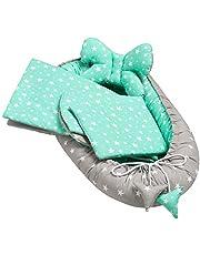 Solvera_Ltd 5 st. Baby utrustningsset inklusive babybo 90 x 50 avtagbar insats platt kudde krabba filt schmeterrlingkudde för spädbarn 100 % bomull