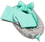 Juego de 4 piezas para bebé, incluye nido para bebé de 50 x 90 cm, almohada plana,colchón para bebé, manta – antialérgica, para bebés de 0 a 7 meses (Minty Stars)