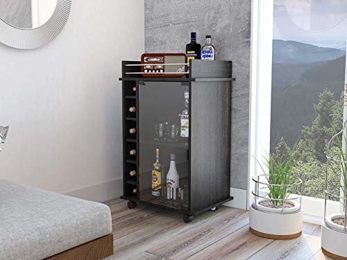 TUHOME Portable Dukat Wine and Liquor Bar Storage Display Cabinet Cart with Glass Door, 4 Wheels, 2 Shelves, and 6 Cubbies, Espresso