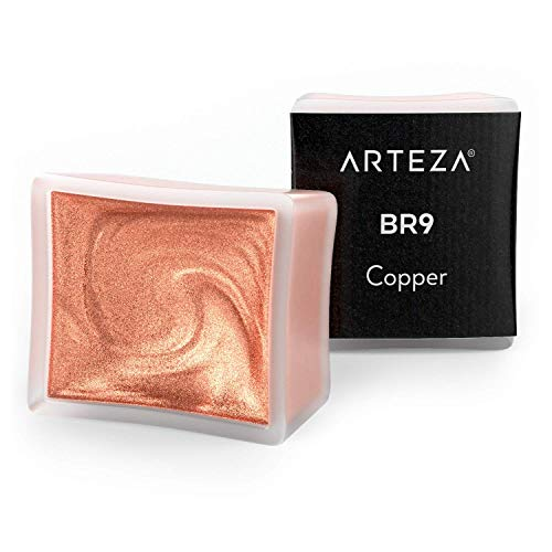 Arteza Metallic Watercolor Paint, Copper A707, Set of 2 Half Pans, Pearl Paint, Vibrant and Pearlescent Hues, For Illustrations, Calligraphy, Painting