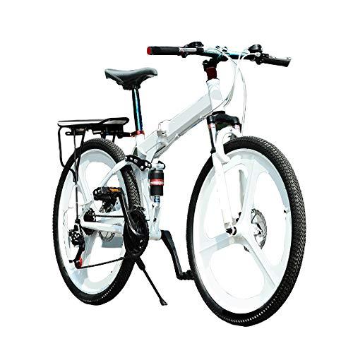 MH-LAMP Bicicletta Pieghevole Adulto, Mountain Bike 24 velocità, 26 Pollici, Bicicletta Biammortizzata, Doppia Freni A Disco, Telaio in Alluminio, Forcella Chiudibile A Chiave