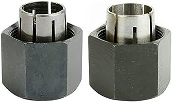 Gadgetool 2 piece Router Collet Kit 1/4  and 1/2  fits for Dewalt 326286-04 326286-03 Bosch 2610906283 2610906284 Hitachi 323-293 323-421,Big Horn 19691,19693&RC025DW,RC050DW