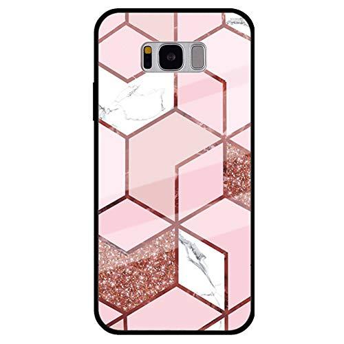 MoreChioce Kompatibel mit Samsung Galaxy S8 Plus Hülle,Galaxy S8 Plus Handyhülle Marmor Glas Rückseite Slim Stoßfest PC Silikon Schutzhülle Bling Glitzer Brillianter Handytasche,Marmor #16