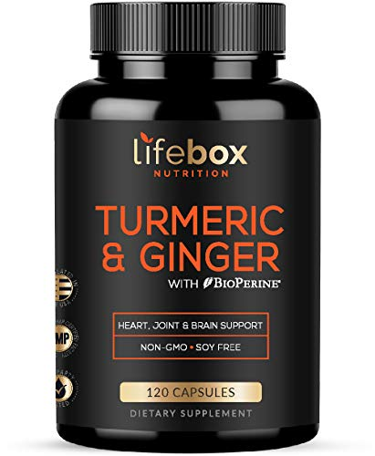 Turmeric Curcumin with BioPerine & Ginger – with 95% Curcuminoids High Absorption Turmeric Supplements for Joint Health, Heart Health, Inflammatory Health - Non-Gluten, Non-GMO - 120 Capsules