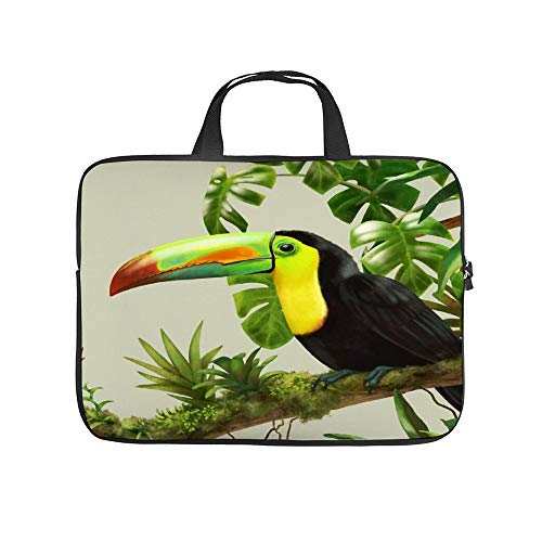 Neoprene Sleeve Laptop Handle Bag Handbag Notebook Case Cover Toucans And Bromeliads - Canvas Background Portable MacBook Laptop/Ultrabooks Case Bag Cover 13-13.3 Inch