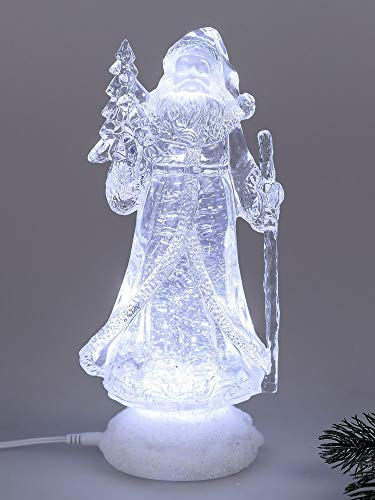 Nikolaus Weihnachtsmann Acryl Figur mit LED Beleuchtung und Wasser gefüllt. Weihnachtsfiguren und Winterdeko von Formano (26 cm)