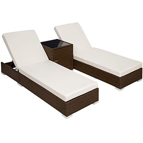 TecTake 2x Chaise longue bain de soleil + Table en Aluminium et Résine Tressée + Deux set de housses + Housse de protection - diverses couleurs au choix - (Marron antique | No. 401818)