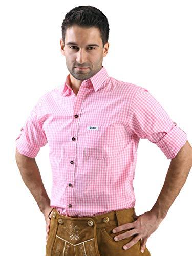 ALMBOCK Trachtenhemd Herren kariert - Slim-fit Männer Hemd pink rosa kariert - Karo Hemd aus 100% Baumwolle in den Größen S-XXXL