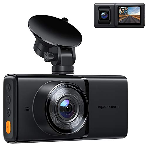 APEMAN Dual Dash Cam for Cars, Full HD 1080P Front and Interior Dash Camera with IR Night Vision, Parking Monitor, Loop Recording, G-Sensor for Truck Taxi Driver, Support 128GB and GPS