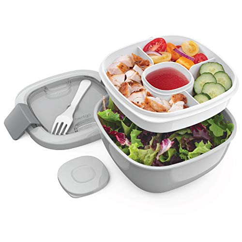 Bentgo Salad BPA-Free Lunch Container with Large 54-oz Salad Bowl, 3-Compartment Bento-Style Tray for Salad Toppings and Snacks, 3-oz Sauce Container for Dressings, and Built-In Reusable Fork (Gray)