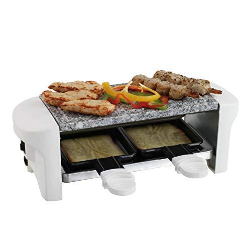 Raclette Grill 2 Personen Grillplatte Tischgrill Elektrogrill Heißer Stein (2 Pfännchen, Antihaftbeschichtung, Rutschfeste Füße, Weiß)