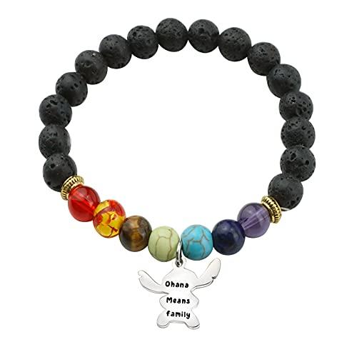 Ohana Means Family Bracelet Family Member Gift Hawaiian Bracelet Gifts for Mom Sister (color)