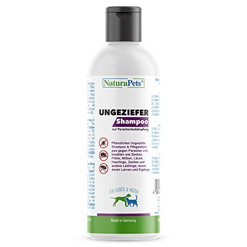 NaturaPets® Ungeziefer Shampoo für Hunde & Katzen (190ml) gegen Parasiten, Zecken, Flöhe, Milben, Läuse, Insekten (Pflanzliches Ungeziefershampoo & Pflegeshampoo)