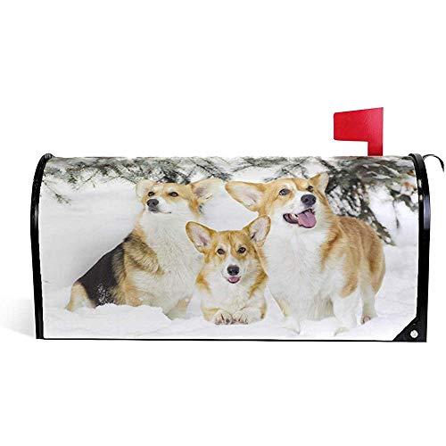 CC Decoration Magnetisch Mailbox,Corgi-Hunde Im Schnee Sun-Proof Mailbox Covers Für Garden Yard 45.8X52.6cm