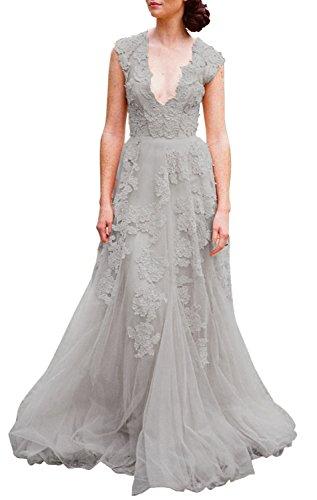 ASA Bridal Women's Vintage Cap Sleeve Lace Wedding Dress A Line Evening Gown Light Grey 10