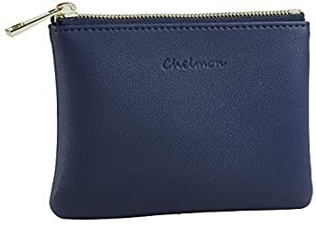 Chelmon Genuine Leather Coin Purse Pouch Change Purse With Zipper For Men Women  Blue Navy