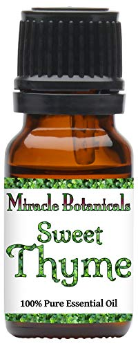Miracle Botanicals Sweet Thyme Essential Oil - 100% Pure Thymus Vulgaris ct. Linalool - 10ml or 30ml Sizes - Therapeutic Grade - 10ml