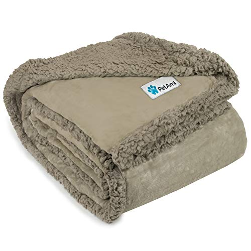 PetAmi Dog Blanket, Sherpa Dog Blanket   Plush, Reversible, Warm Pet Blanket for Dog Bed, Couch, Sofa, Car (Taupe/Taupe Sherpa, 50x40 Inches)