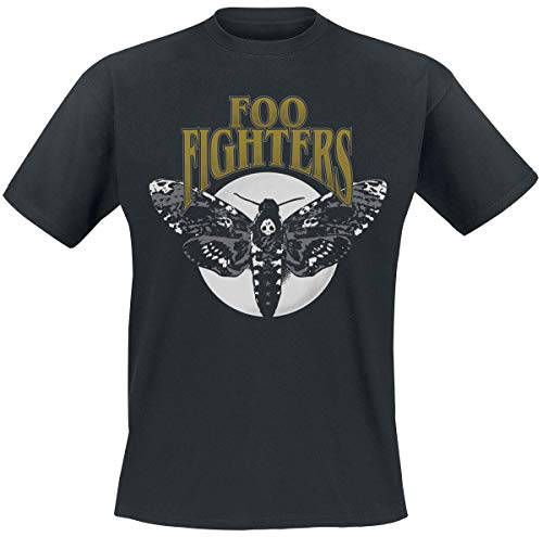 Foo Fighters Hawk Moth Hombre Camiseta Negro XXL, 100% algodón, Regular