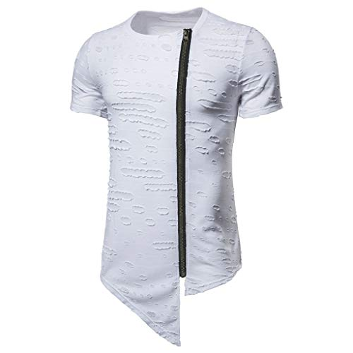 Andouy Herren Modisch Slim Kordelzug Kapuzenpullover Zipper Kurzarm T-Shirt mit Asymmetrischem Saum(3XL.Weiß-1)