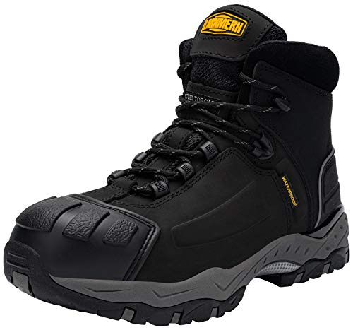 LARNMERN Waterproof Steel Toe Boots Men Puncture Proof Indestructible Slip Oil- Resistant Static Dissipative S3 Outdoor Hiking Safety Work Shoes L8057(11.5 Men, Black)