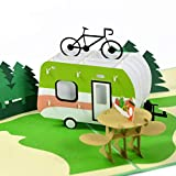 Rykamia Camper Camping Trip Pop Up Card, 6x7.5 in, 3D Birthday Camping Card, Anniversary, Retirement, Good Luck, RV Card, Camper Card, Camping Pop Up Card, Camping Gift, Camper Pop Card, Nature Lover