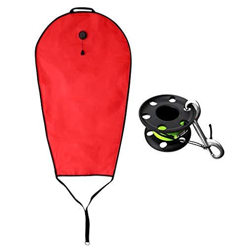 Injoyo Reflektierende Tauchen Schnorcheln 125lbs Salvage Lift Bag + 50m Finger Tech Spool