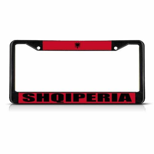 Shqiperia Albanien Flagge Schwarz Metall Robuste Nummernschild Rahmen Tag Bordüre