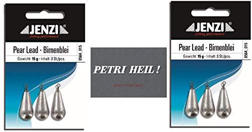 .Jenzi Set: 2 Packungen Birnenblei, 15 Gramm, 2 x 3 Stück,mit Wirbel/Öse .+ gratis Petri Heil! Aufkleber