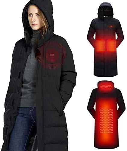 Mannen vrouwen verwarmde jas winter USB outdoor liefhebbers lange capuchon verwarming mantel elektrische thermische kleding voor het wandelen