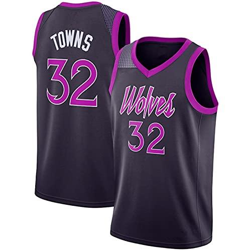 YXST Camiseta De Baloncesto NBA Timberwolves # 32 Malla Bordada De PoliéSter Top,Secado RáPido Y Transpirable para JóVenes Sudadera,Purple,M