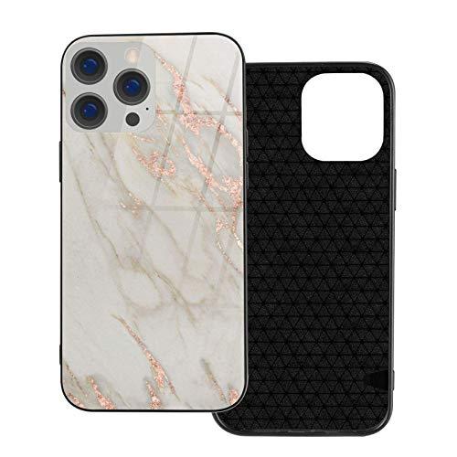 MEUYGOFLZ Compatible con iPhone 12 Pro Max, carcasa de cuerpo completo, carcasa de cristal TPU suave para iPhone 12 Pro Max 6.7 pulgadas, mármol oro rosa, mármol metálico, rosa