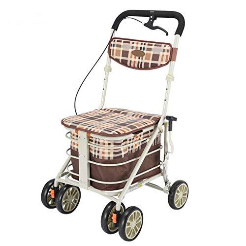 Lichtgewicht Opvouwbare 6 Wiel Rollator Walker met Handrem/Winkelwagen Inklapbare Trolley/Ouderdom Wandelstoel kan nemen om voedsel te kopen om te helpen Push The Small Cart-48x56x90cm