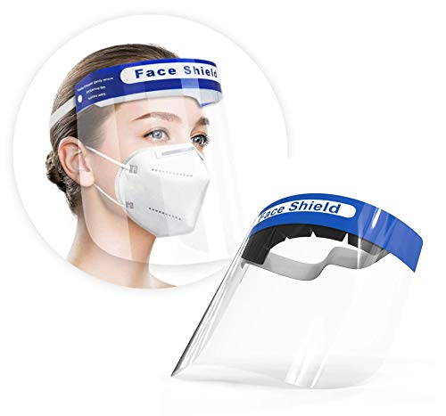 Artnaturals Face Shield Reusable (Pack of 10) Plastic Face Mask Shields for Full Face & Eye Safety Protection from Droplets, Saliva & More  Breathable Guard, Anti-Fog, Clear Vision, Adjustable Cover
